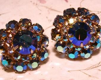 Aurora Borealis Rhinestone Goldtone Clip On Earrings with Prong Settings