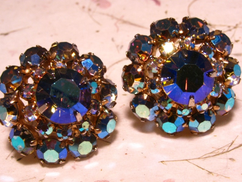 Aurora Borealis Rhinestone Goldtone Clip On Earrings with image 0