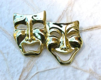 Comedy Tragedy Masks Brooch Pin Theater Thespian Award