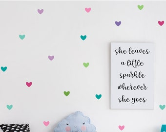 """2"""" Heart Wall Decals for Girls Bedroom or Nursery, Easy Peel and Stick Decals, Set of 72 in Colors As Shown"""