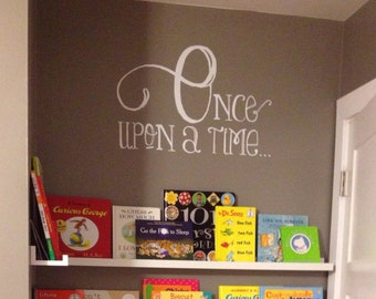Once Upon a Time Wall Decal, Childrens Book Nook Decor, Gifts for Young Readers