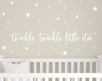 Twinkle Twinkle Little Star Vinyl Wall Decal, Nursery Wall Decals, Kids Wall Decor, Star Wall Art, Vinyl Decals for Baby & Children