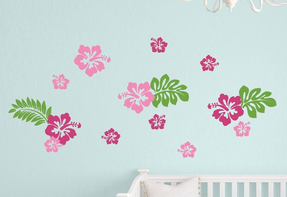 hibiscus flowers wall decals hawaiian flowers decals wall | etsy