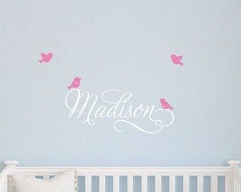 Baby Name Decal - Bird Wall Decal - Personalized Name - Swirly Wall Decal - Children Name Decal - Bird Stickers