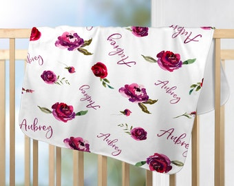 Roses Personalized Baby Blanket, Baby Blanket with Name, Watercolor Flower Blanket, Personalized Baby Gifts, Baby Girl Blanket with Name