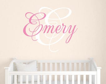 Girls Name Decal Set with Monogram, Childrens Wall Decals, Girls Name Vinyl Decal, Nursery Decals, Girls Wall Decor