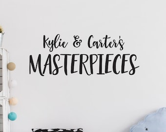 Personalized Masterpieces Vinyl Wall Decal, Custom Art Gallery Lettering, Kids Masterpieces Wall Decor