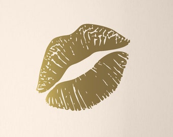 """Kiss Mark Wall Decal, Lips Decal, Gold Lips Wall Art, Lipstick Mark, Girls Bedroom Decor, Large Size, 23"""" wide"""