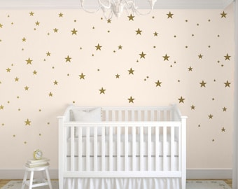Star Wall Decals, Gold Star Wall Decal, Nursery Wall Decals, Star Wall Stickers, Baby Room, Easy Peel and Stick Decals, Choose your Color