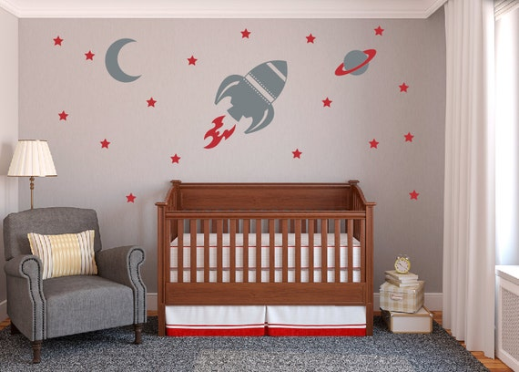 Rocket Wall Decal Set, Baby Boy Nursery Wall Decals, Space Ship Wall  Decals, Boy Bedroom Wall Decals