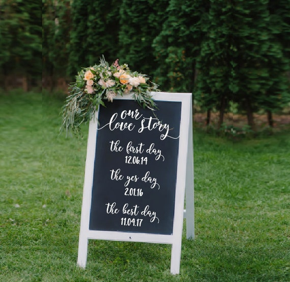 Custom wedding decal Our Story date personalized vinyl sign mirror chalk board