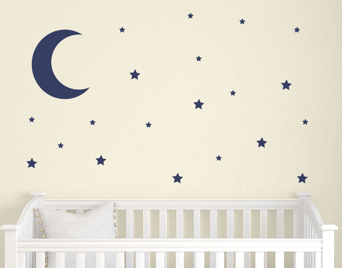 moon and stars wall decal set childrens wall decals nursery | etsy