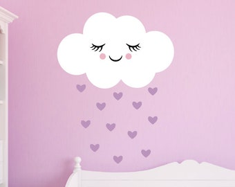 Happy Rain Cloud Wall Decal Set, Raindrop Vinyl Wall Decals, Cloud Wall Stickers, Girls Bedroom Decor