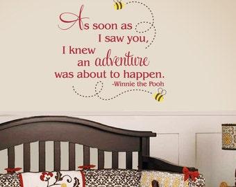 Winnie the Pooh Wall Decal - As soon as I saw you - Children Nursery Vinyl Decal