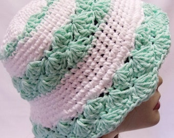 Crochet Sun Hat, Cotton Crochet Summer Sun Hat in Mint Green and White, Mothers Day Gift, Gift For Mom