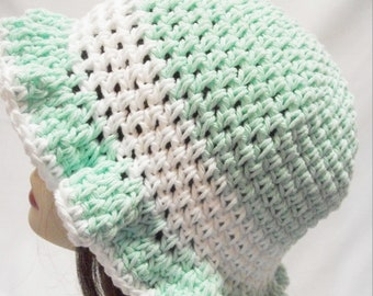 Crochet Sun Hat, Cotton Summer Sun Hat in Mint Green and White,
