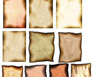 Set of Ten Burnt Parchment Paper Images, Instant Download Only, Sized 8.5 in. by 11 in. for Scrapbooking, Decoupage, Paper Crafts, etc.