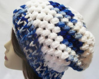 85180d0a851 Unisex Winter Slouchy Hat in Blue and White