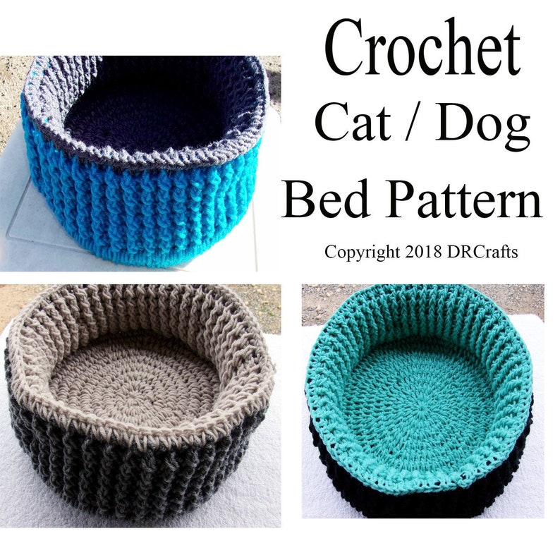 Crochet Cat Or Dog Bed Pattern Instant Download Pattern Only Etsy
