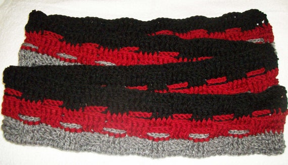 Pattern Crochet Basket Weave Scarf In Black Red And Gray Etsy