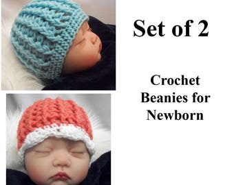 Set of 2 Newborn Baby Hats for Boy and Girl Twins, Crochet Baby Beanies in Pink and White,  Blue, Baby Shower Gift for Twins, Free Shipping
