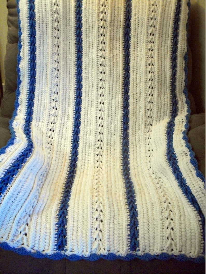 Crochet Throw Blanket in White and Blue with Free US Shipping by DRCrafts White and Blue Crochet Blanket