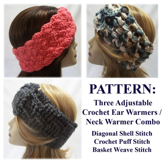 Pattern Three Crochet Ear Warmer Neck Warmer Patterns Etsy