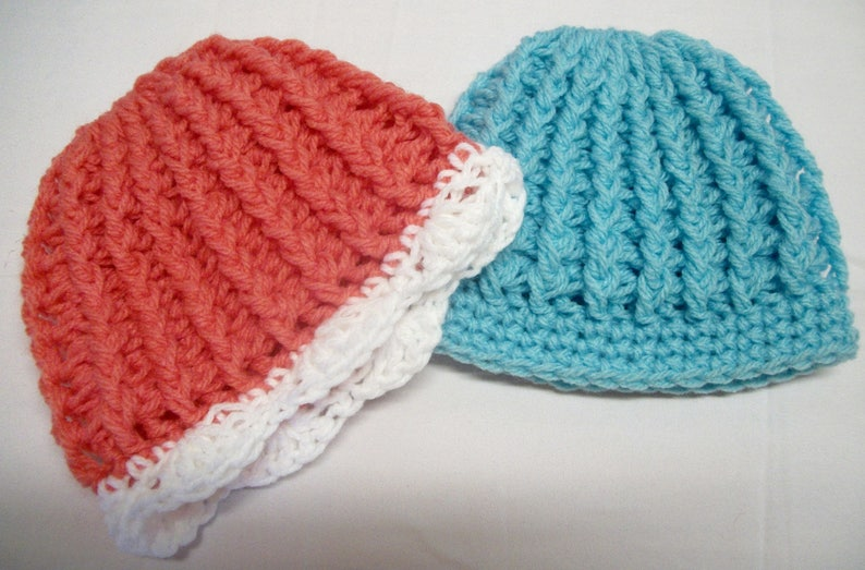 Pattern Only Newborn Crochet Ribbed Hat Baby Ribbed Hat Etsy