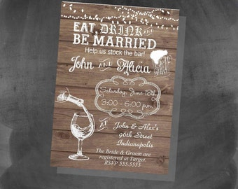 Eat Drink Be Married Invitations Etsy