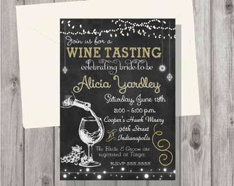 Wine invitations etsy digital chalkboard gold wine tasting bridal shower or birthday party invitation personalized printable filmwisefo