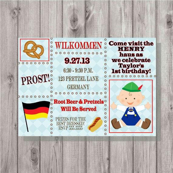 Oktoberfest Cyfrowy 1 Urodziny Niebieski Niemiecki Zaproszenie Etsy