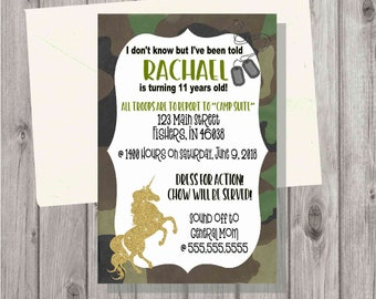 Digital Teen Tween Girl Camo Camouflage Unicorn Birthday Party Invitation Printable Gold Glitter Unicorns Army Girl