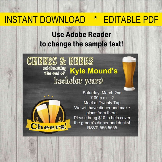 Chalkboard Beer Mug Invitation Birthday Bachelor Party ...