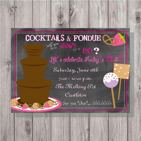 Digital Chalkboard Style Fondue Birthday Party Invitation Diy Etsy