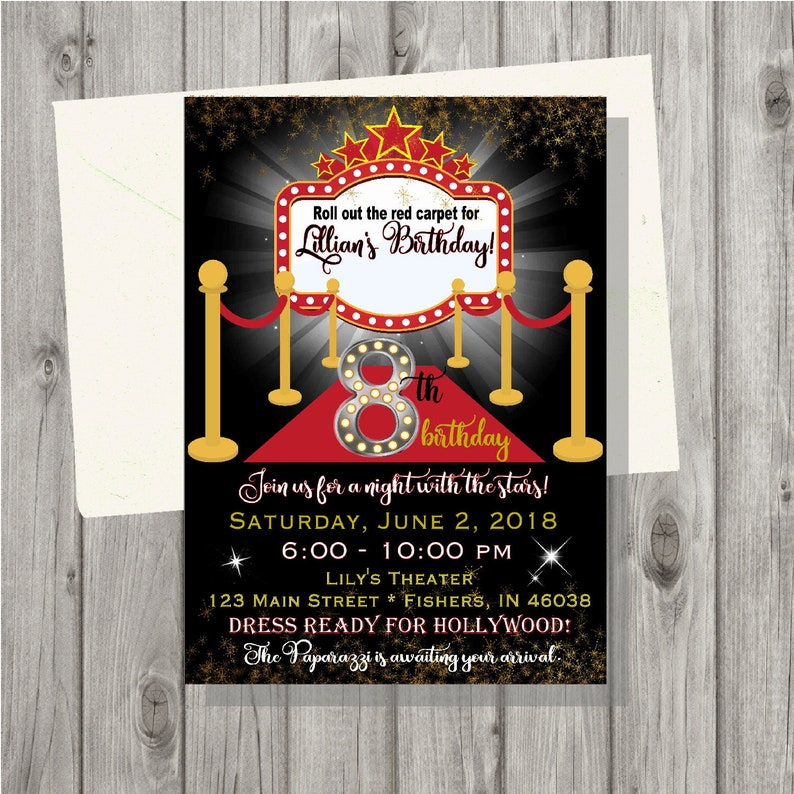 Digital Hollywood Red Carpet Movies Invitation Personalized Printable Invitation Custom Printable Invite