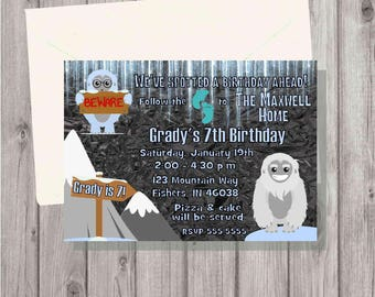 DIGITAL Yeti Ice (Big Foot or Sasquatch) Birthday Boy or Girl Party Invitation