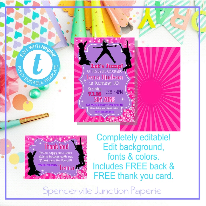 picture about Skyzone Printable Waiver identify Templett Electronic Editable Sky Zone Trampoline Park Invitation, Printable Template, Immediate Down load Crimson Pink Female Birthday Invitation
