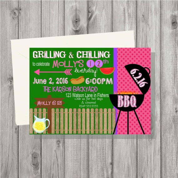 digital barbecue cookout birthday girl party invitation etsy