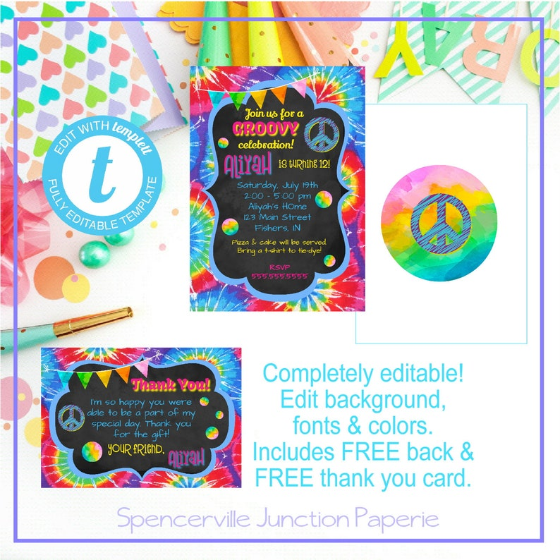 Templett Digital Editable Groovy Tie Dye Peace Birthday Girl Invitation Printable Template Instant Download W Back Thank You Card