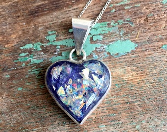 Vintage Mexico signed Vintage Confetti Lucite Heart Pendant Necklace Sterling