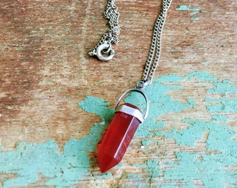 Vintage Carnelian Red Sterling Silver Carved Pointed pendant Necklace