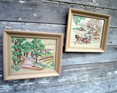 Vintage Crewel Embroidery Pictures Pair Wedding Lovers couple and Winter sleigh Scene