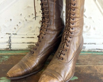 Victorian Edwardian Brown Leather LACE Up BOOT pointy toe Granny Heels