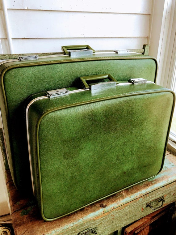 Vintage 70's Green Vinyl Nesting Suitcases Towncra