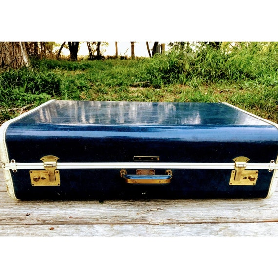 Vintage Blue Hardshell Suitcase JcPenny Towncraft