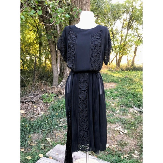 Antique 1920s Silk Chiffon Lace Dress Lace Tassel
