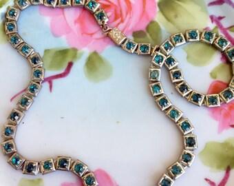Antique Art Deco Turquoise rhinestone linked Necklace Choker