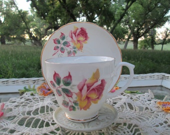 Vintage Teacup Tea Cup and Saucer Pink Yellow Flowers Roses English Bone China