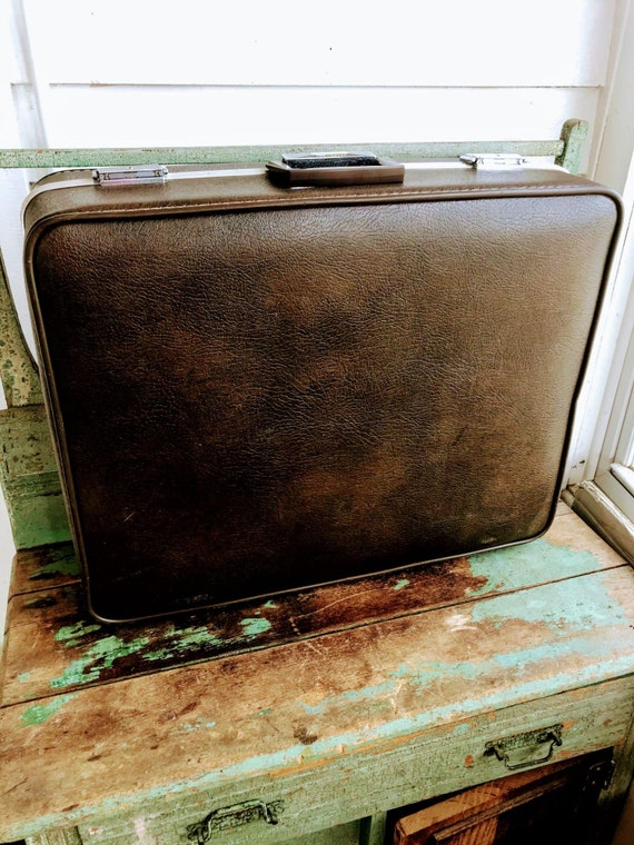 Vintage 70's Brown Vinyl Suitcases Towncraft