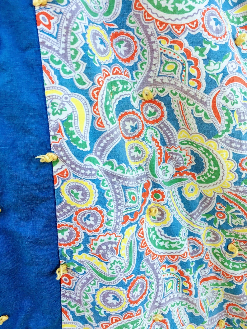 Vintage Blue Paisly Blue Hand Tied Baby Blanket Quilt Comforter